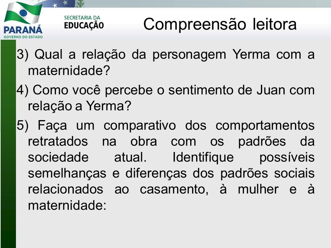 Compreensão leitora 3) Qual a relação da personagem Yerma com a maternidade 4) Como você percebe o sentimento de Juan com relação a Yerma