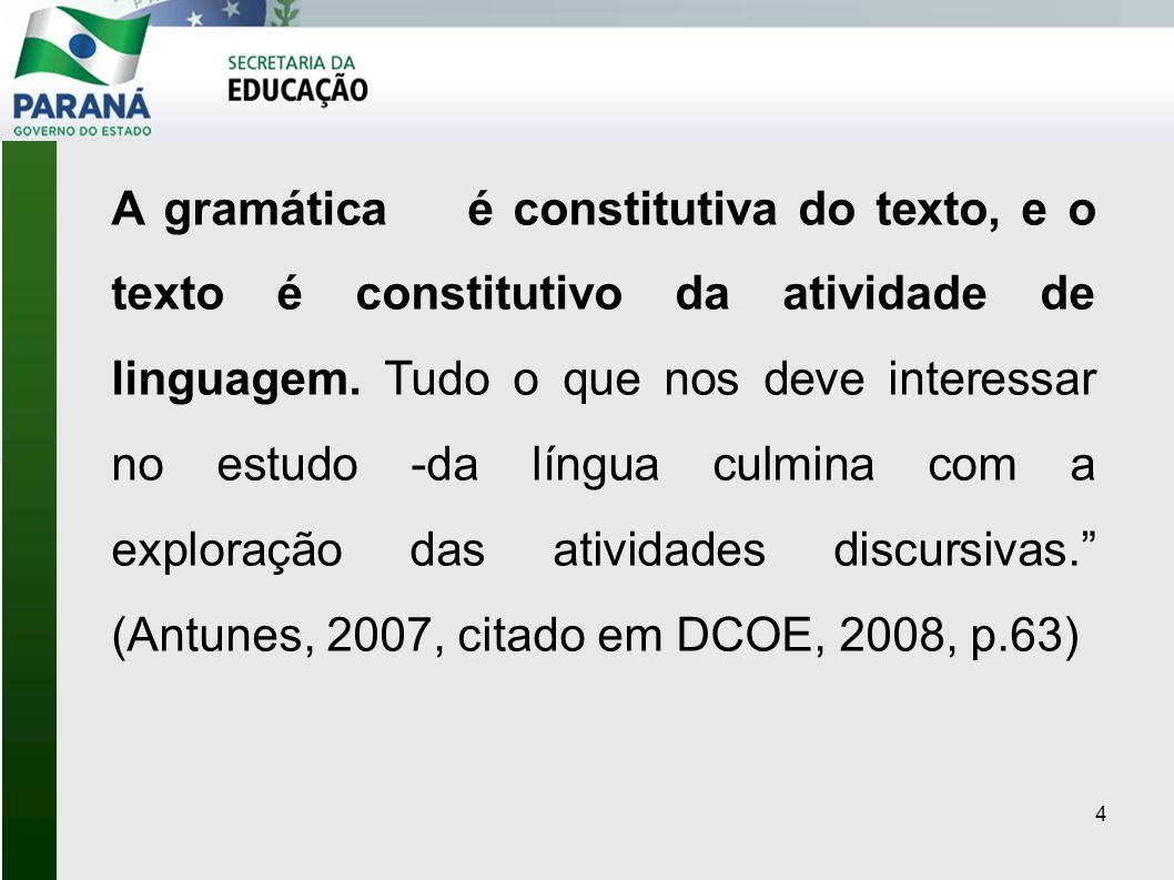 A gramática é constitutiva do texto, e o texto é constitutivo da atividade de linguagem. Tudo o que nos deve interessar no estudo -da língua culmina com a exploração das atividades discursivas. (Antunes, 2007, citado em DCOE, 2008, p.63)