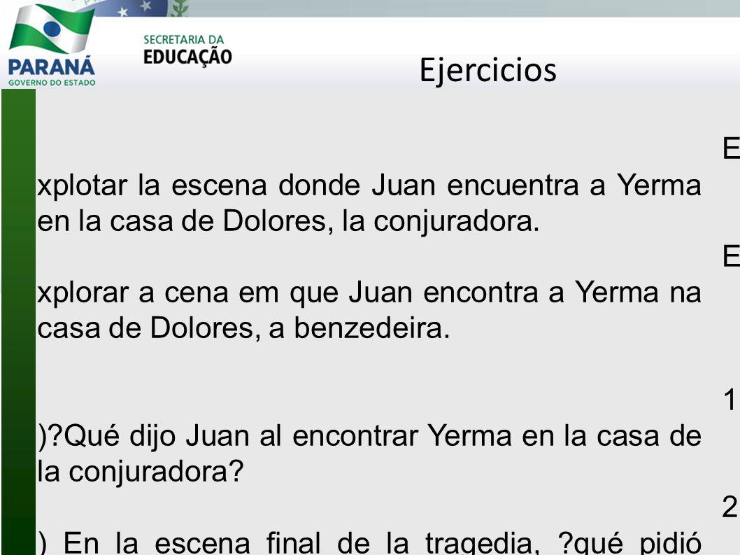 Ejercicios Explotar la escena donde Juan encuentra a Yerma en la casa de Dolores, la conjuradora.
