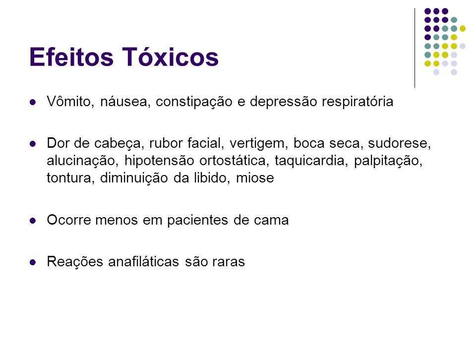 Efeitos Tóxicos Vômito, náusea, constipação e depressão respiratória