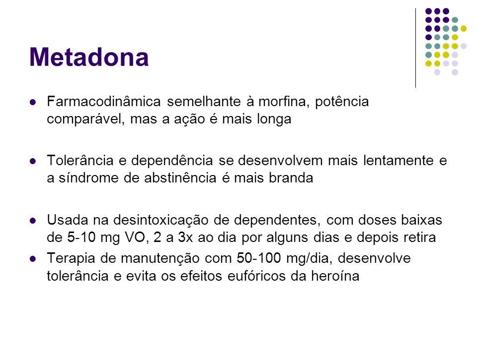 Metadona Farmacodinâmica semelhante à morfina, potência comparável, mas a ação é mais longa.
