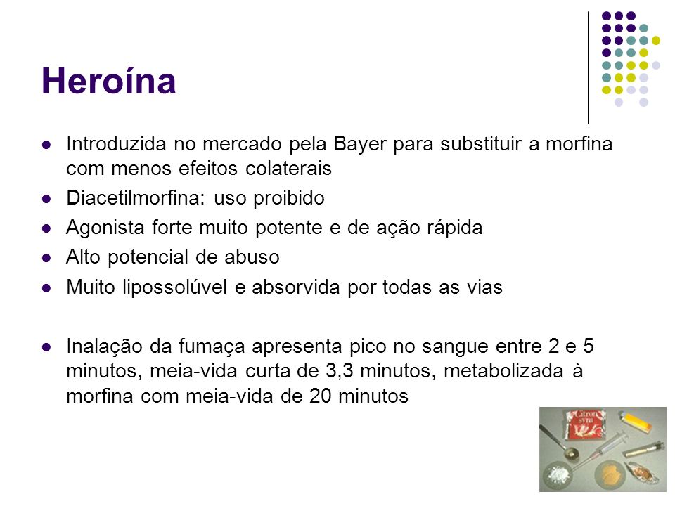 HeroínaIntroduzida no mercado pela Bayer para substituir a morfina com menos efeitos colaterais. Diacetilmorfina: uso proibido.