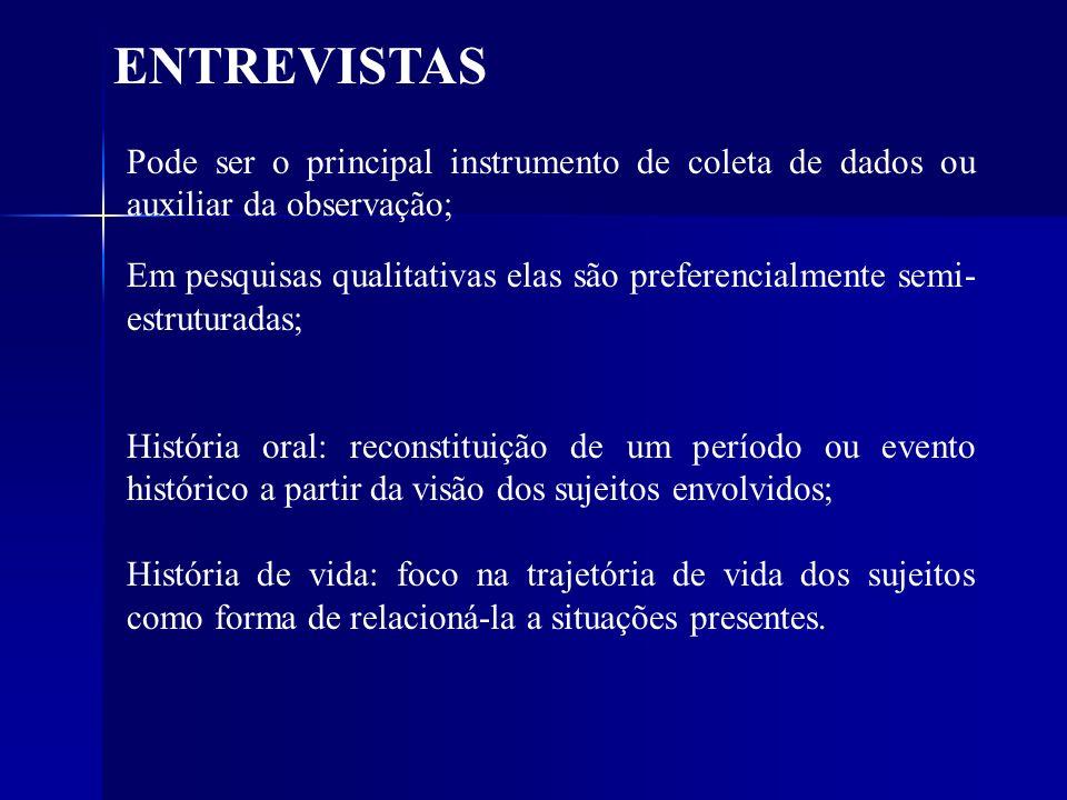 ENTREVISTAS Pode ser o principal instrumento de coleta de dados ou auxiliar da observação;