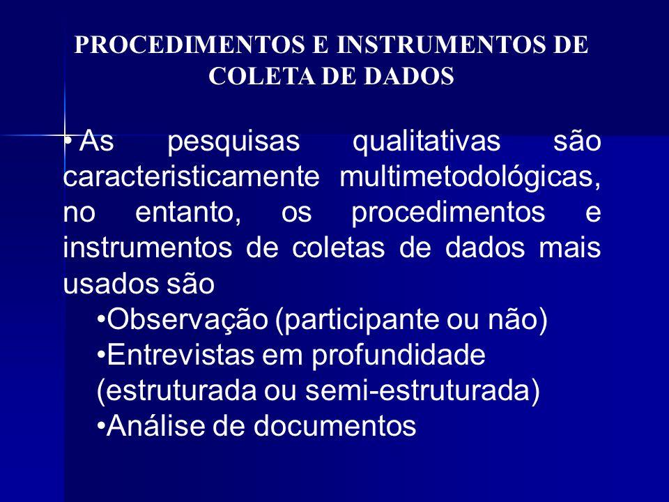 PROCEDIMENTOS E INSTRUMENTOS DE COLETA DE DADOS