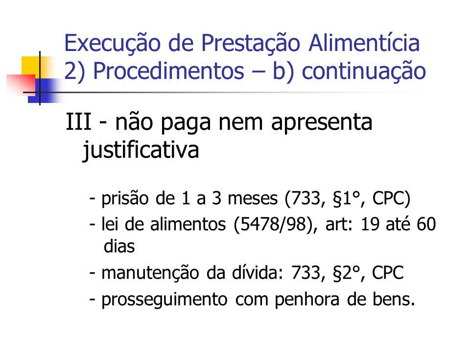 Execução de Prestação Alimentícia 2) Procedimentos – b) continuação