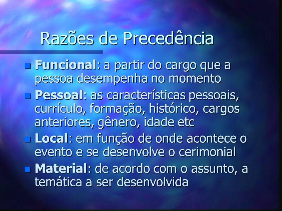 Razões de PrecedênciaFuncional: a partir do cargo que a pessoa desempenha no momento.
