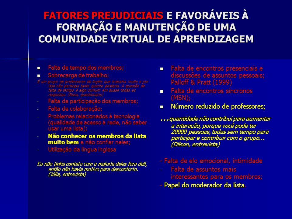 FATORES PREJUDICIAIS E FAVORÁVEIS À FORMAÇÃO E MANUTENÇÃO DE UMA COMUNIDADE VIRTUAL DE APRENDIZAGEM