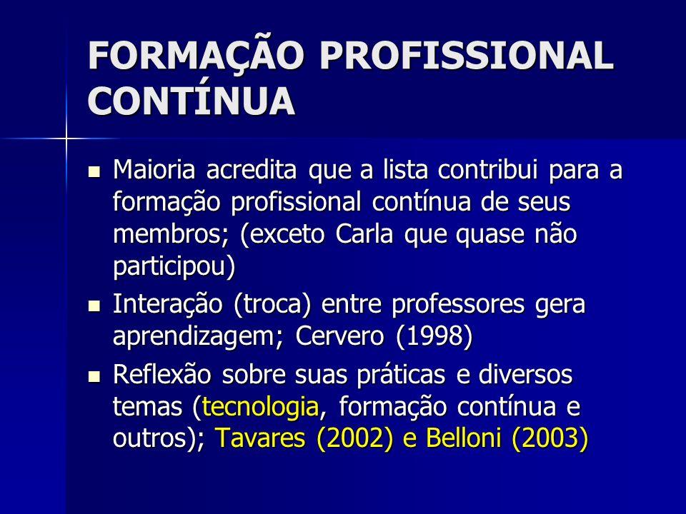 FORMAÇÃO PROFISSIONAL CONTÍNUA