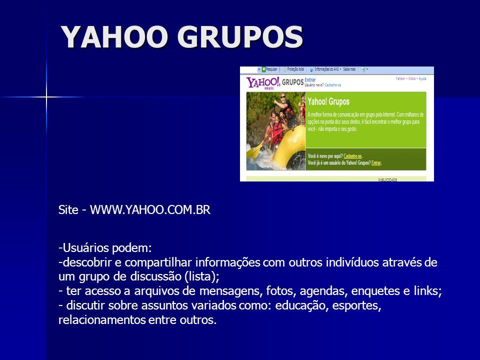 YAHOO GRUPOS Site - WWW.YAHOO.COM.BR Usuários podem:
