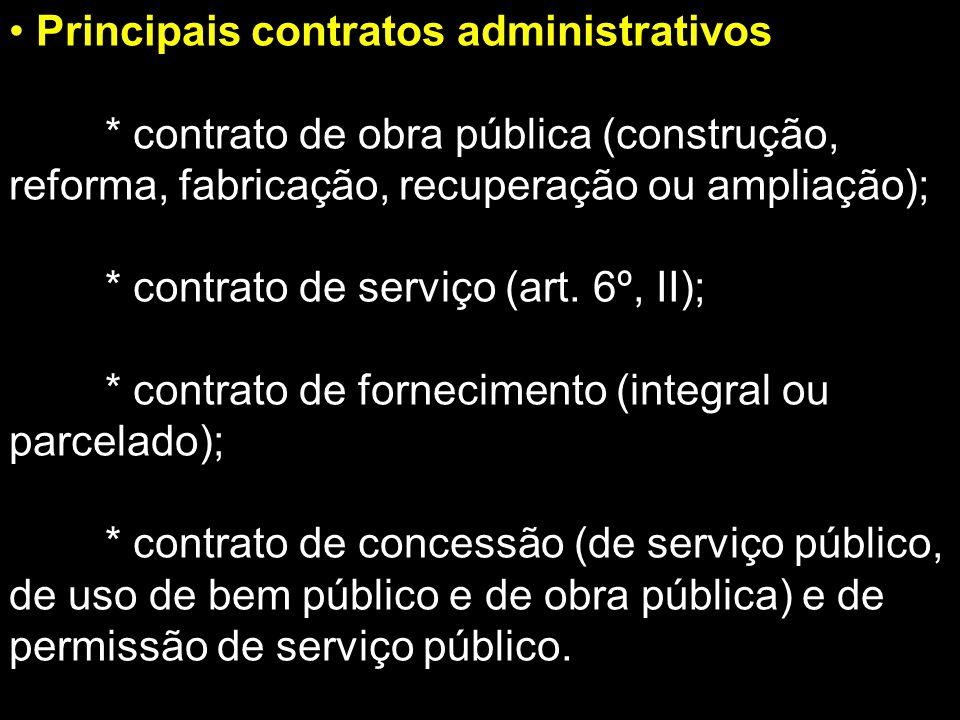 Principais contratos administrativos