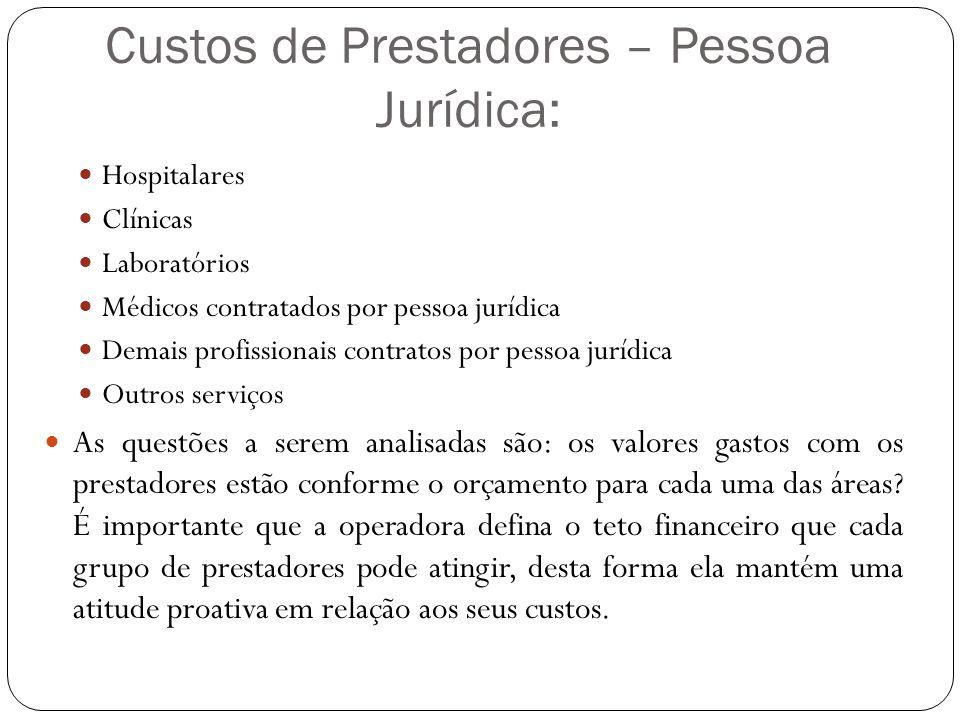 Custos de Prestadores – Pessoa Jurídica: