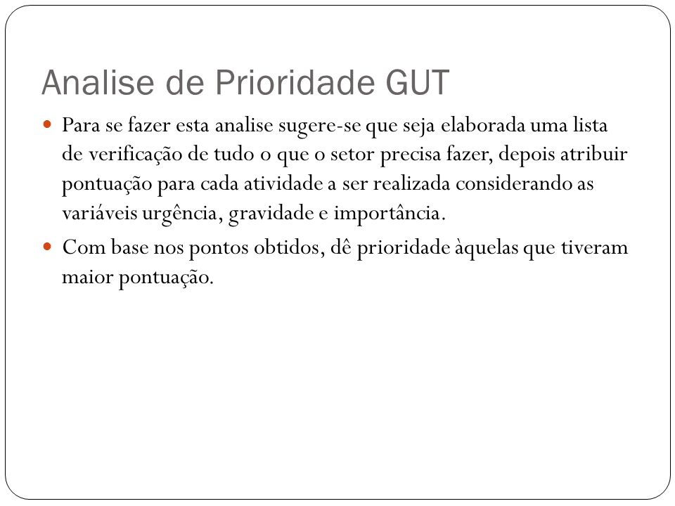 Analise de Prioridade GUT