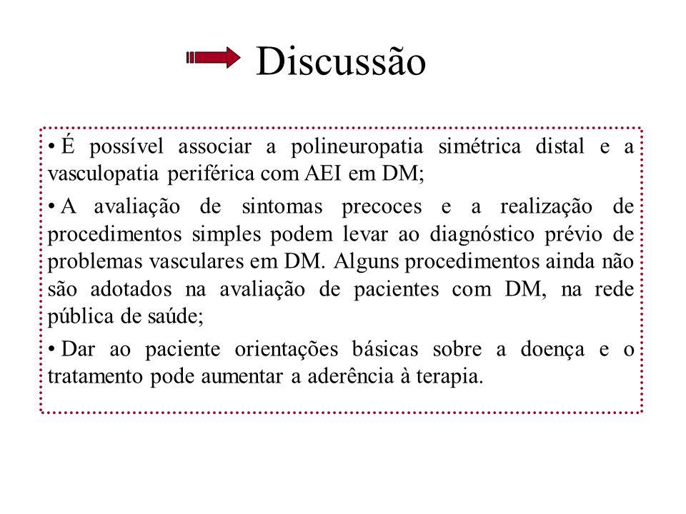 Discussão É possível associar a polineuropatia simétrica distal e a vasculopatia periférica com AEI em DM;