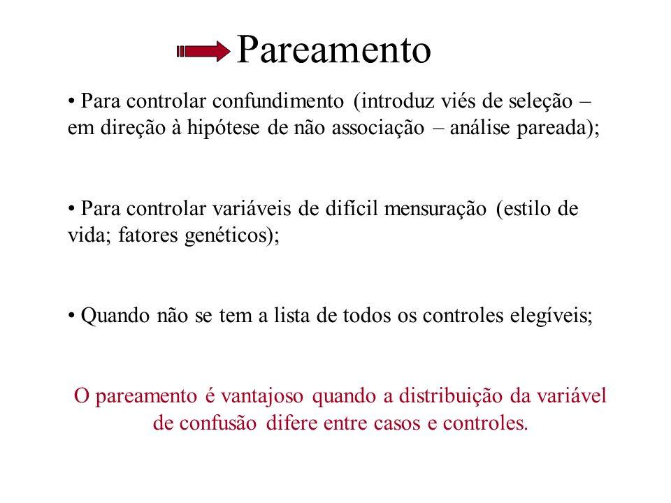 PareamentoPara controlar confundimento (introduz viés de seleção – em direção à hipótese de não associação – análise pareada);