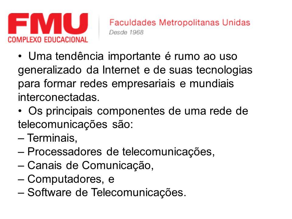 Uma tendência importante é rumo ao uso generalizado da Internet e de suas tecnologias para formar redes empresariais e mundiais interconectadas.