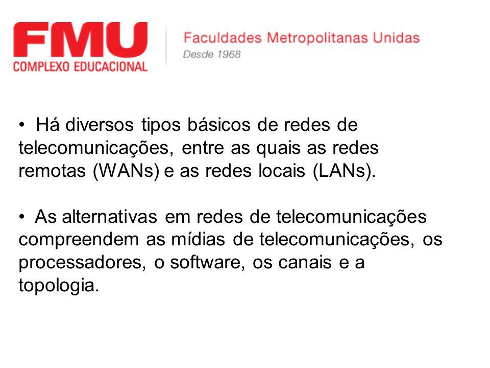 Há diversos tipos básicos de redes de telecomunicações, entre as quais as redes remotas (WANs) e as redes locais (LANs).