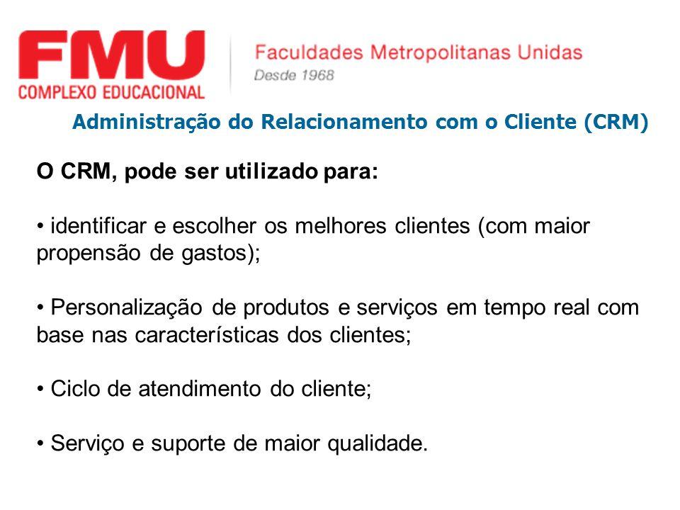 O CRM, pode ser utilizado para: