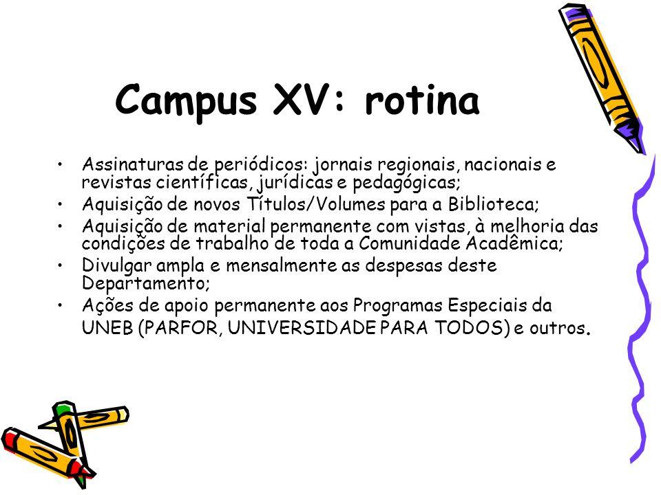 Campus XV: rotina Assinaturas de periódicos: jornais regionais, nacionais e revistas científicas, jurídicas e pedagógicas;