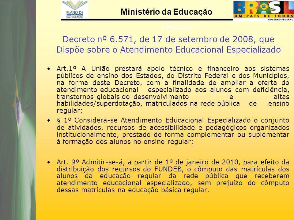 Decreto nº 6.571, de 17 de setembro de 2008, que Dispõe sobre o Atendimento Educacional Especializado