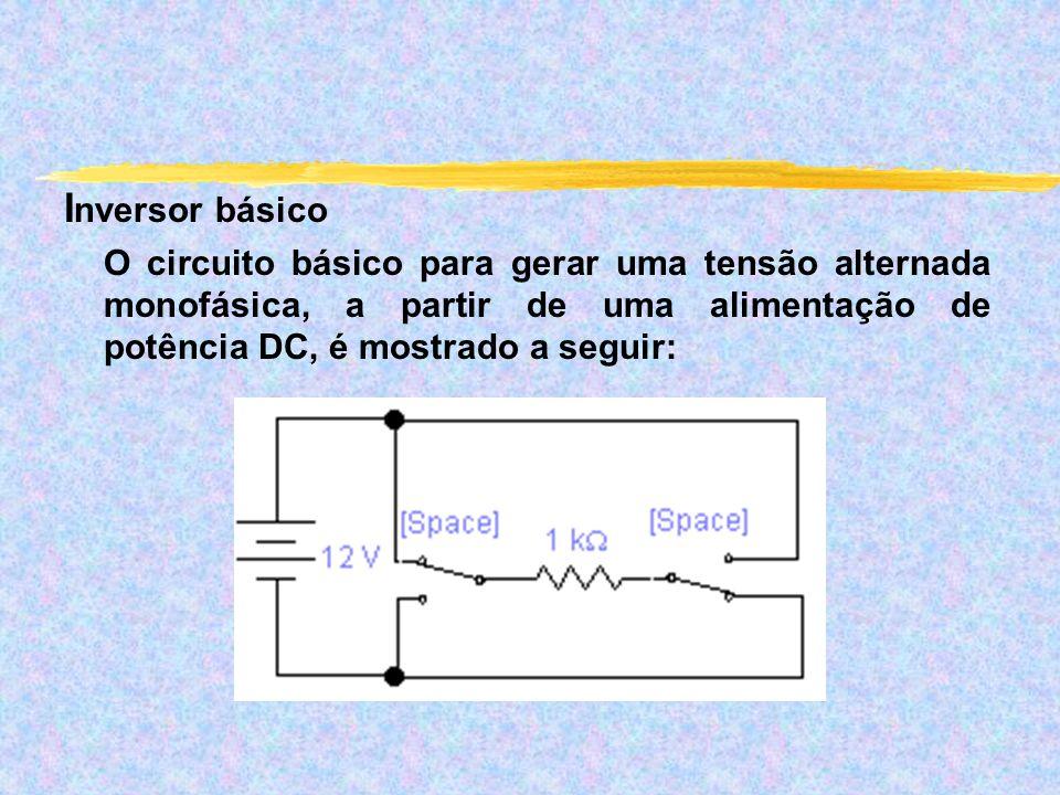 Inversor básico O circuito básico para gerar uma tensão alternada monofásica, a partir de uma alimentação de potência DC, é mostrado a seguir: