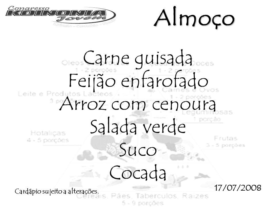 Almoço Carne guisada Feijão enfarofado Arroz com cenoura Salada verde