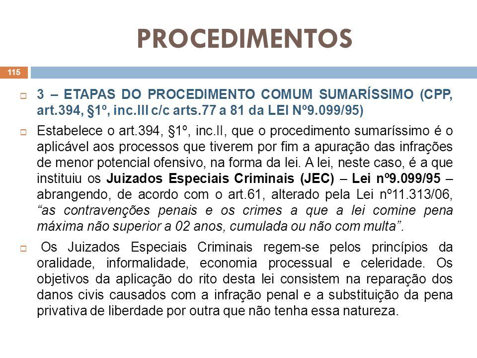 PROCEDIMENTOS 3 – ETAPAS DO PROCEDIMENTO COMUM SUMARÍSSIMO (CPP, art.394, §1º, inc.III c/c arts.77 a 81 da LEI Nº9.099/95)