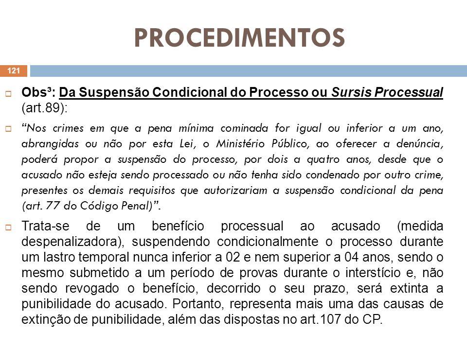 PROCEDIMENTOS Obs³: Da Suspensão Condicional do Processo ou Sursis Processual (art.89):