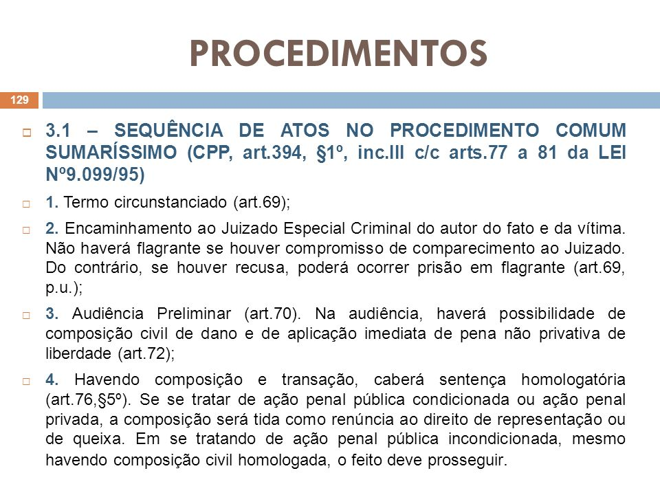 PROCEDIMENTOS 3.1 – SEQUÊNCIA DE ATOS NO PROCEDIMENTO COMUM SUMARÍSSIMO (CPP, art.394, §1º, inc.III c/c arts.77 a 81 da LEI Nº9.099/95)