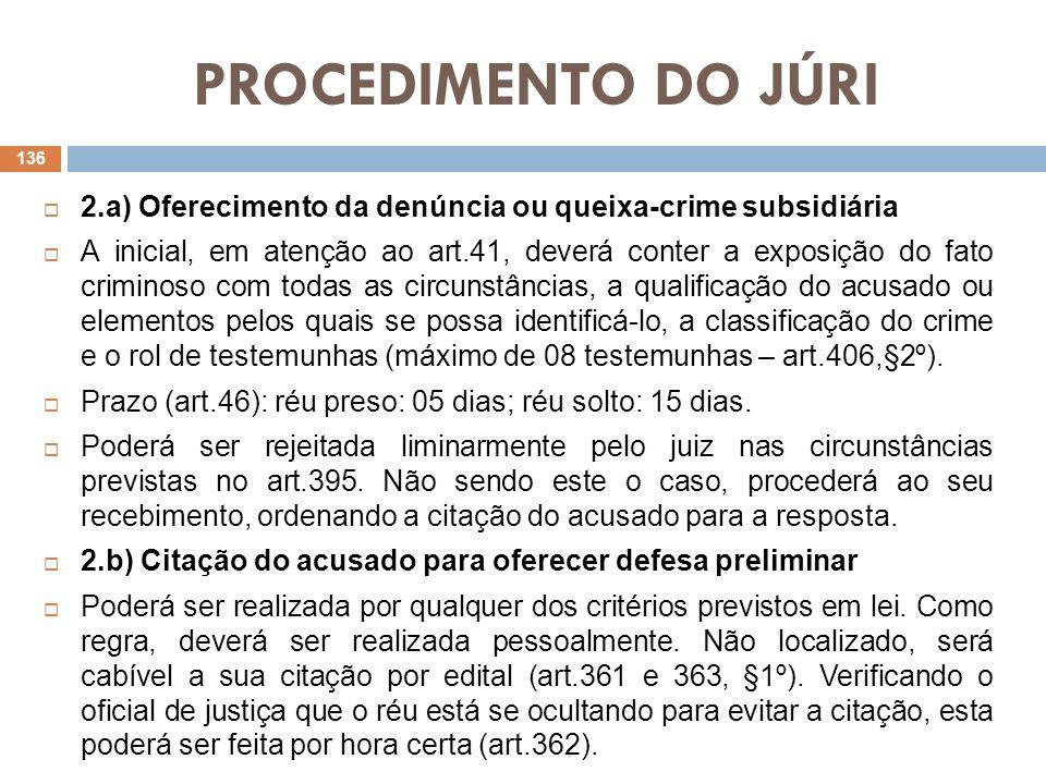 PROCEDIMENTO DO JÚRI 2.a) Oferecimento da denúncia ou queixa-crime subsidiária.