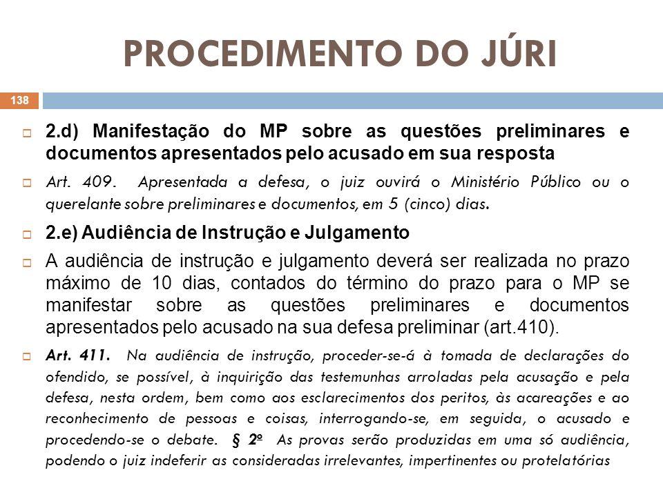 PROCEDIMENTO DO JÚRI2.d) Manifestação do MP sobre as questões preliminares e documentos apresentados pelo acusado em sua resposta.