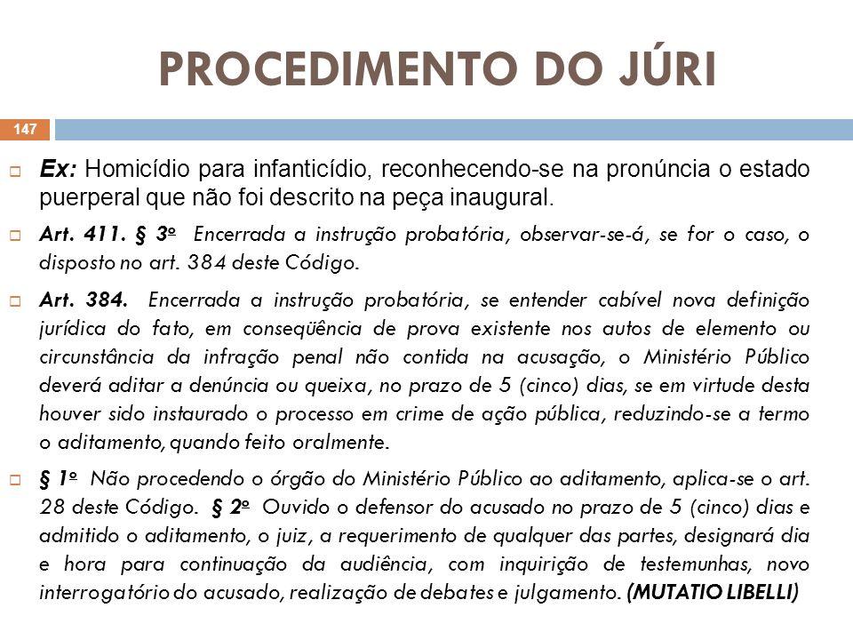 PROCEDIMENTO DO JÚRIEx: Homicídio para infanticídio, reconhecendo-se na pronúncia o estado puerperal que não foi descrito na peça inaugural.