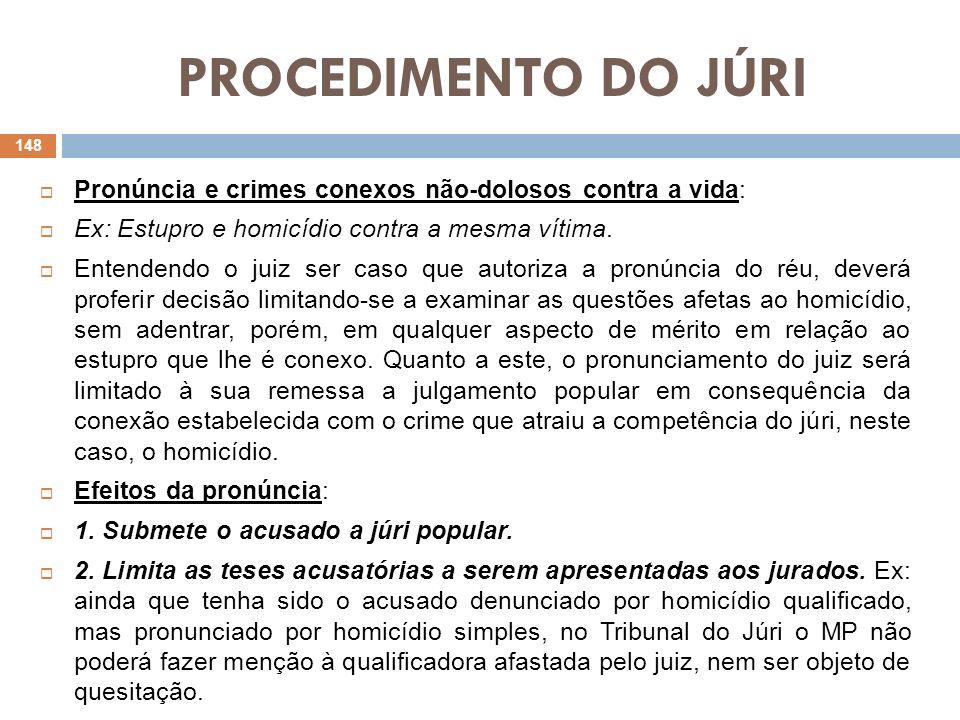 PROCEDIMENTO DO JÚRIPronúncia e crimes conexos não-dolosos contra a vida: Ex: Estupro e homicídio contra a mesma vítima.