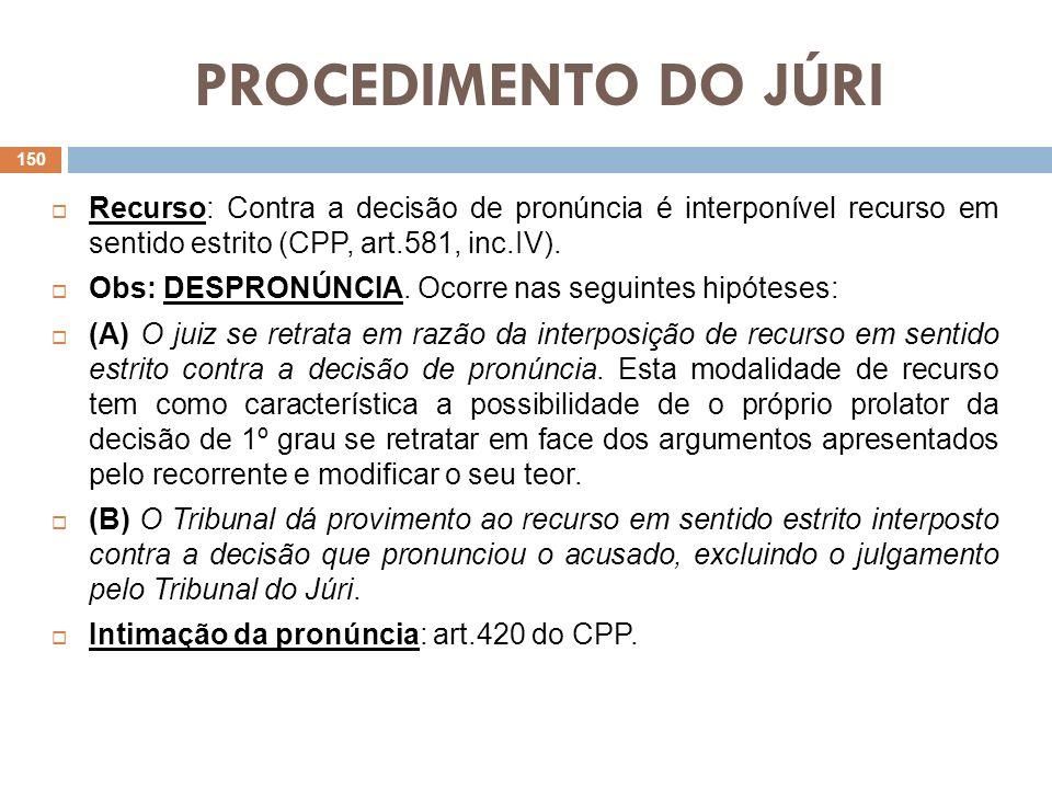 PROCEDIMENTO DO JÚRIRecurso: Contra a decisão de pronúncia é interponível recurso em sentido estrito (CPP, art.581, inc.IV).