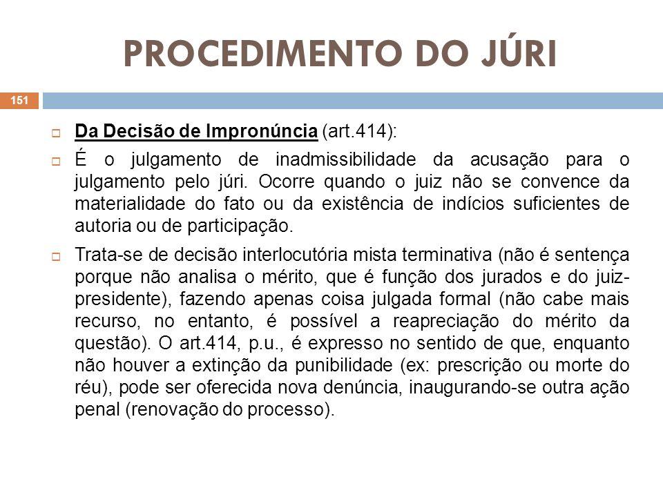 PROCEDIMENTO DO JÚRI Da Decisão de Impronúncia (art.414):
