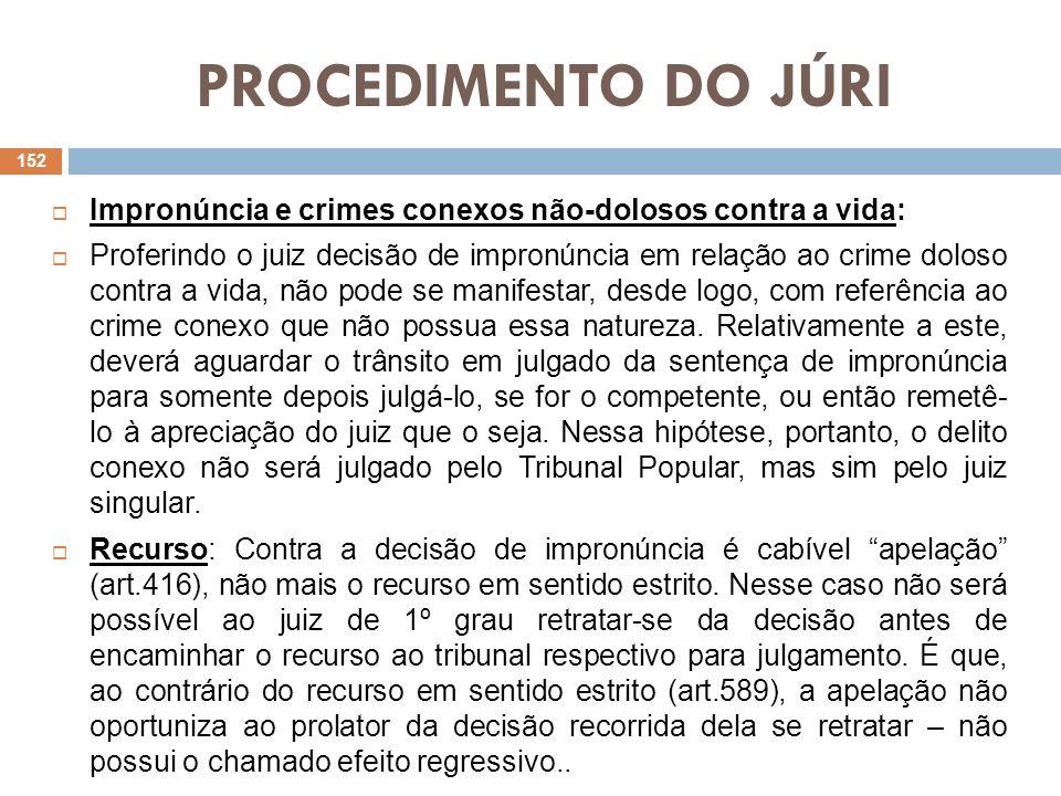 PROCEDIMENTO DO JÚRI Impronúncia e crimes conexos não-dolosos contra a vida: