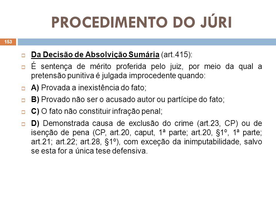 PROCEDIMENTO DO JÚRI Da Decisão de Absolvição Sumária (art.415):