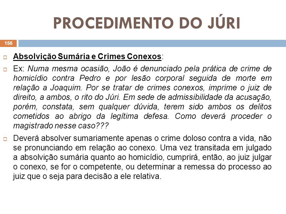 PROCEDIMENTO DO JÚRI Absolvição Sumária e Crimes Conexos: