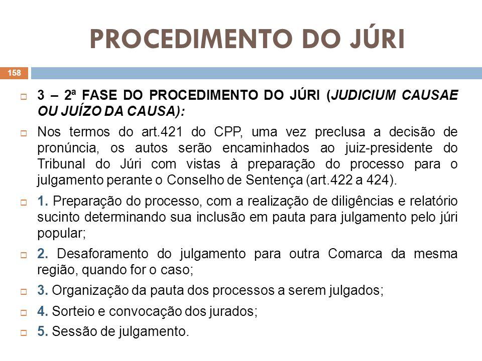 PROCEDIMENTO DO JÚRI 3 – 2ª FASE DO PROCEDIMENTO DO JÚRI (JUDICIUM CAUSAE OU JUÍZO DA CAUSA):