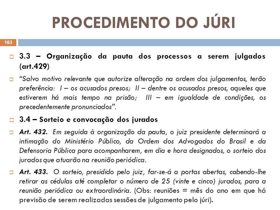 PROCEDIMENTO DO JÚRI 3.3 – Organização da pauta dos processos a serem julgados (art.429)