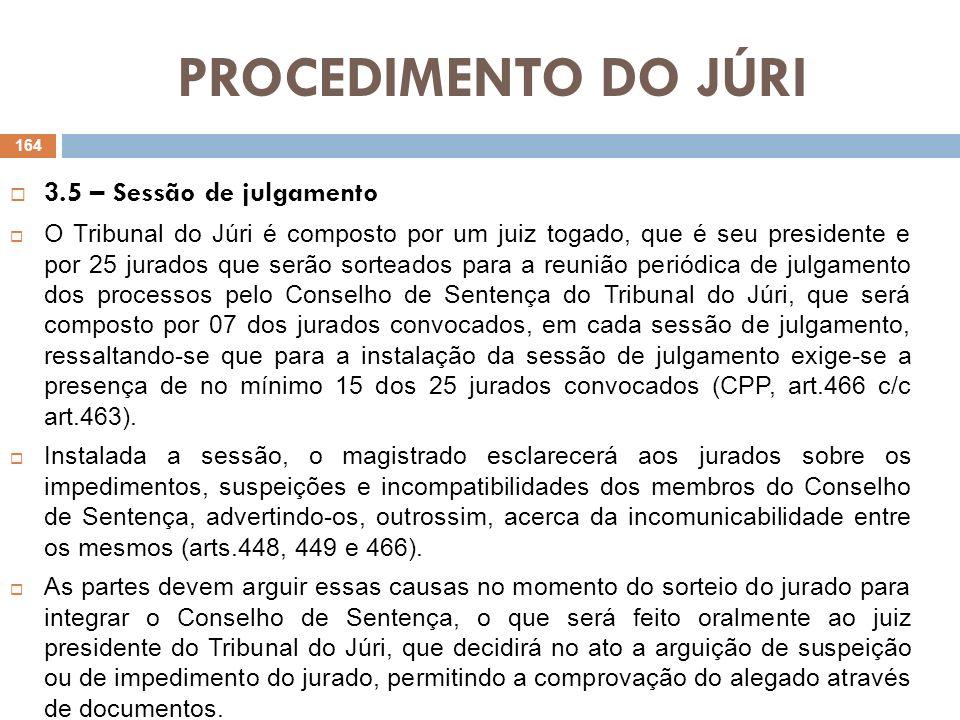 PROCEDIMENTO DO JÚRI 3.5 – Sessão de julgamento