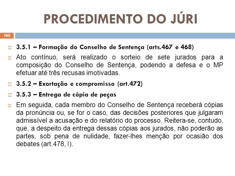 PROCEDIMENTO DO JÚRI 3.5.1 – Formação do Conselho de Sentença (arts.467 e 468)