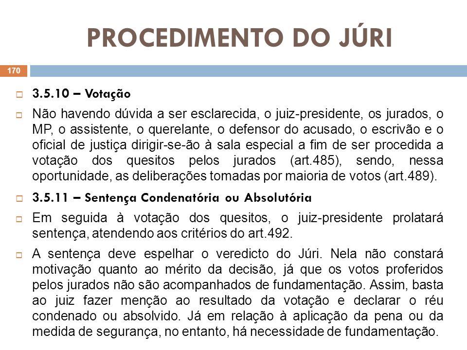 PROCEDIMENTO DO JÚRI 3.5.10 – Votação