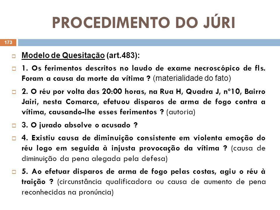 PROCEDIMENTO DO JÚRI Modelo de Quesitação (art.483):