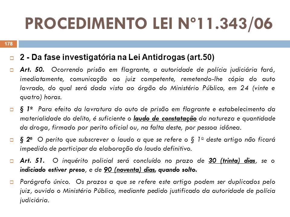 PROCEDIMENTO LEI Nº11.343/06 2 - Da fase investigatória na Lei Antidrogas (art.50)