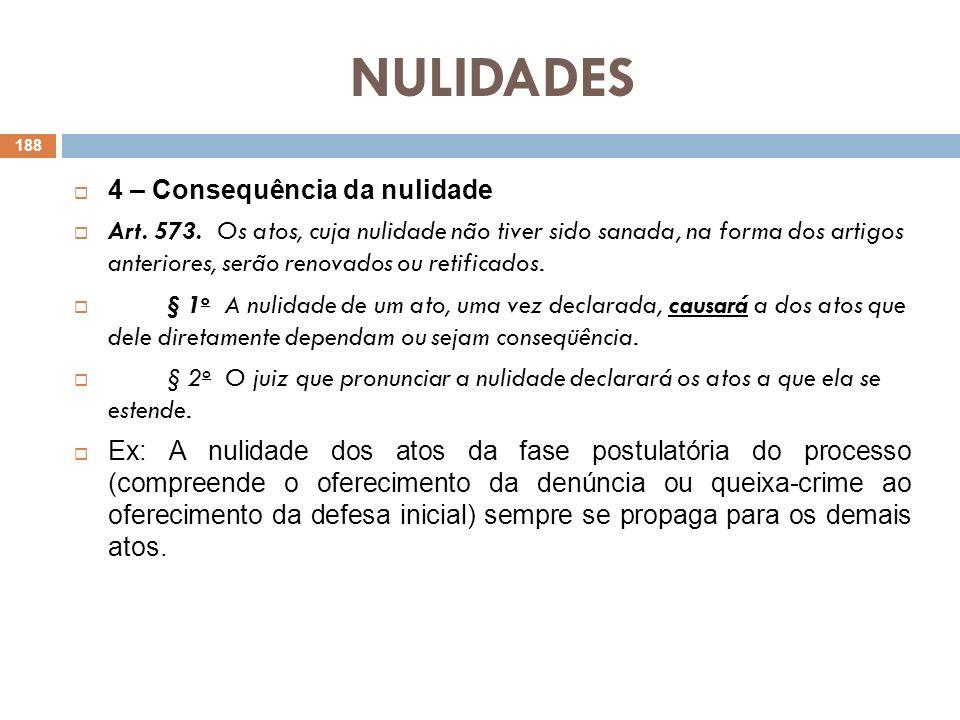 NULIDADES 4 – Consequência da nulidade