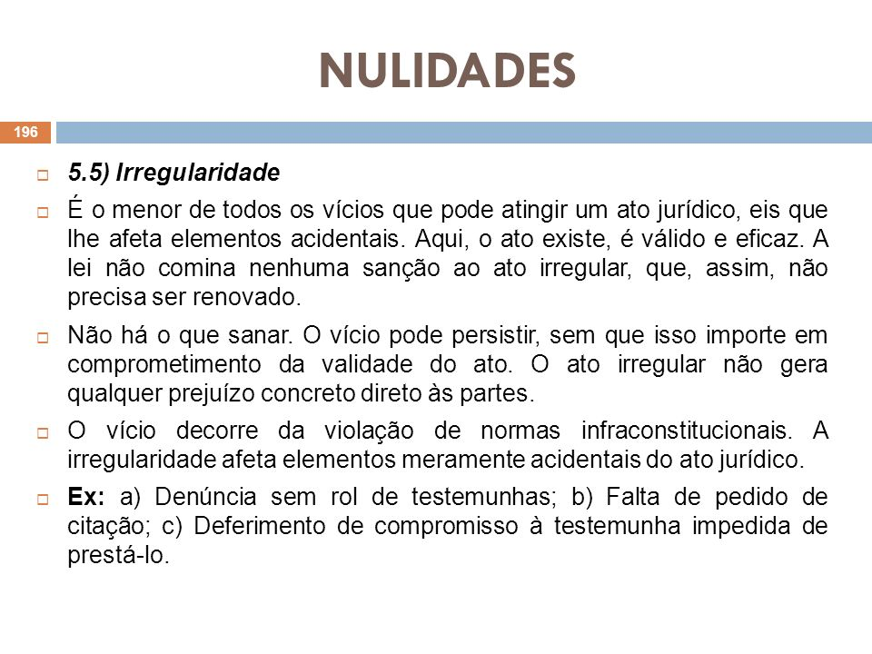 NULIDADES 5.5) Irregularidade