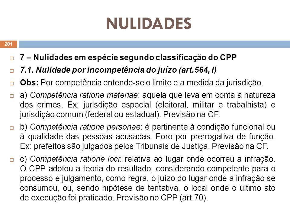 NULIDADES 7 – Nulidades em espécie segundo classificação do CPP