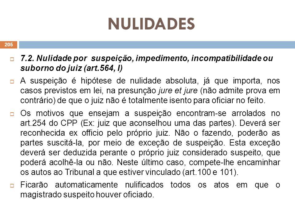 NULIDADES7.2. Nulidade por suspeição, impedimento, incompatibilidade ou suborno do juiz (art.564, I)