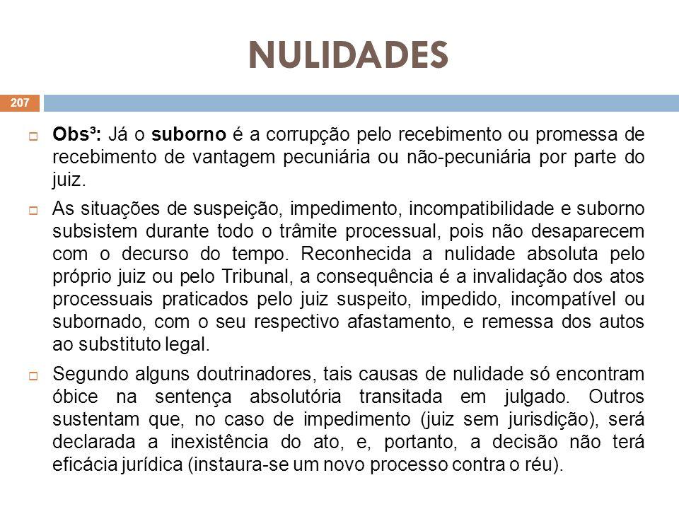 NULIDADES Obs³: Já o suborno é a corrupção pelo recebimento ou promessa de recebimento de vantagem pecuniária ou não-pecuniária por parte do juiz.