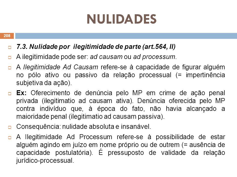 NULIDADES 7.3. Nulidade por ilegitimidade de parte (art.564, II)